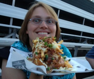 Carol with poutine hotdog